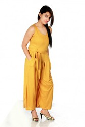 Ladyoye- Charming Mustard Red Dotted Jumpsuit