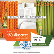Get Flat 15% OFF on all Home Furnishing Product-Use Coupon Code: IND15