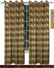 Buy Brown and Golden Premium Curtain