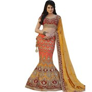 Beautiful Orange and Yellow Desiner Bridal Lehenga Choli