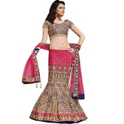 Pink and Blue Heavy Embroidered Designer Lehenga Choli