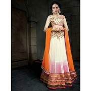 Luscious Patch Border Work White A Line Lehenga Choli
