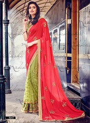 Red and Green Appealing Georgette Saree