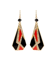 Partywear Red and Black Dangle Earrings at ShoppyZip