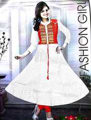 Combo offer Women's Off White Check Kurti Full Sleeve and Red Legging