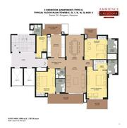 Ambience Creacions Floor Plan For 2, 3 and 4 BHK In Gurgaon